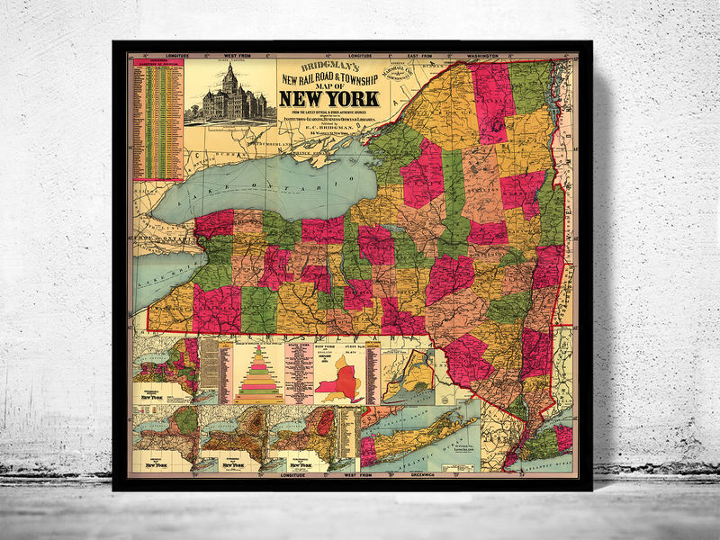 Old Map of New York State 1896 - product image