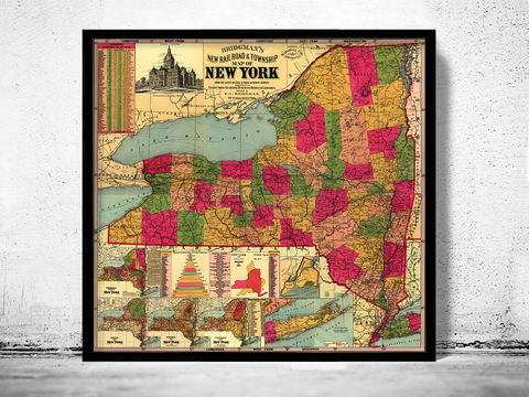Old,Map,of,New,York,State,1896,new york map, new york state, old map of new york, new york maps, new york state map, maps, old maps, antique maps