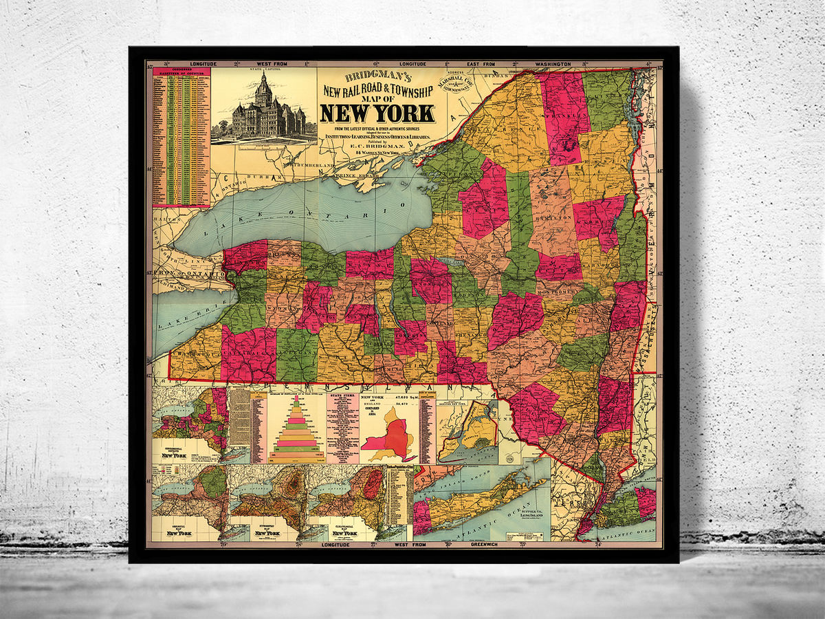 Old Map of New York State 1896 - product images  of