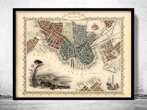 Old,Map,of,Boston,1851,Massachusetts,boston maps, old maps of boston, boston antique maps,Art,Reproduction,Open_Edition,vintage,United_States,USA,city_map,retro,antique,old_map,vintage_map,boston_map,map_of_boston,boston_poster, boston map, map of boston , boston poster
