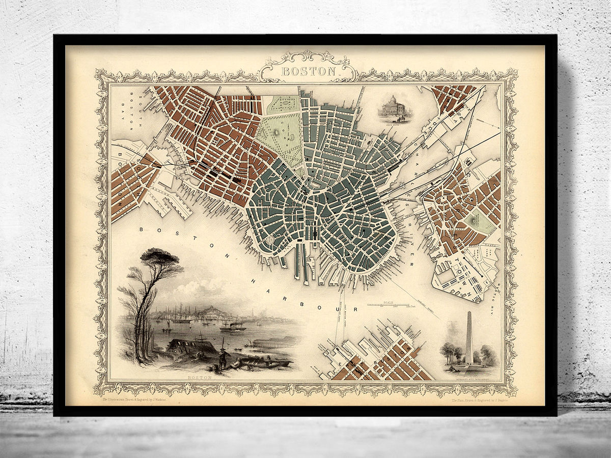 Old Map of Boston 1851 Massachusetts  - product images  of