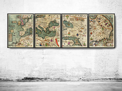 Old,Catalan,Atlas,1375,Europe,Mediterranean,Sea,and,Middle,East,catalan atlas, old catalan atlas, old map of mediterranean sea, old catalan map, medieval catalan map, catalan map of the world, medieval map of the world,world map poster,Art,Reproduction,Open_Edition,World_map,atlas,Asia,europe,america,oceania,vintage_m