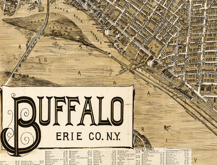 Old Panoramic View of Buffalo NY 1902 Old map of Buffalo NY - product images  of