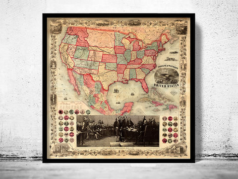 Old,Map,of,United,States,America,1861,united states map, united states poster, united states of america, USA map, map of US, map of United states