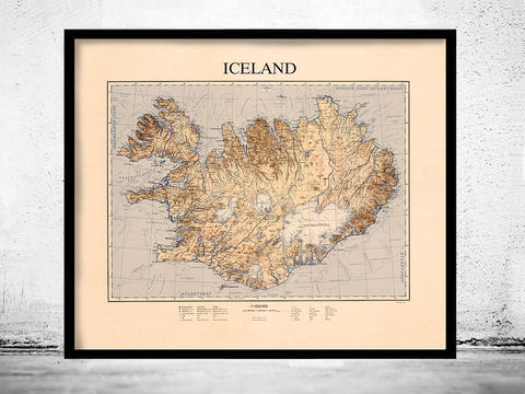 Old,Map,of,Iceland,1963,Art,Reproduction,Open_Edition,old_map,antique,illustration,indian,vintage_map,iceland,island,iceland_map,map_of_iceland,iceland_poster,vintage_poster,vintage_iceland
