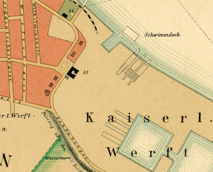 Old Map of Kiel Germany 1887  - product image
