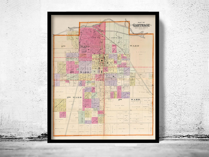 Old map of Carthage Missouri 1895  - product image