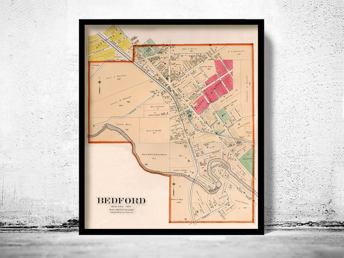 Old map of Bedford Ohio 1892  United States  - product images  of