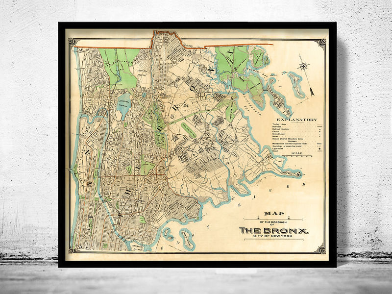Old Map of Bronx New York 1900 - product image