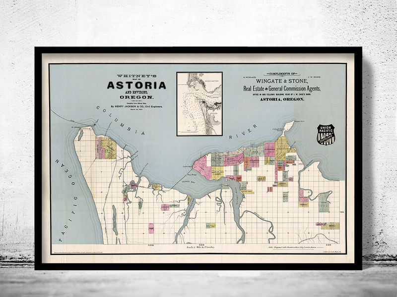 Old Map of Astoria Oregon 1890 Vintage Map - product image