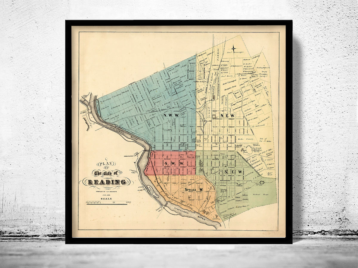 Old map of Reading Pennsylvania 1860 - product images  of