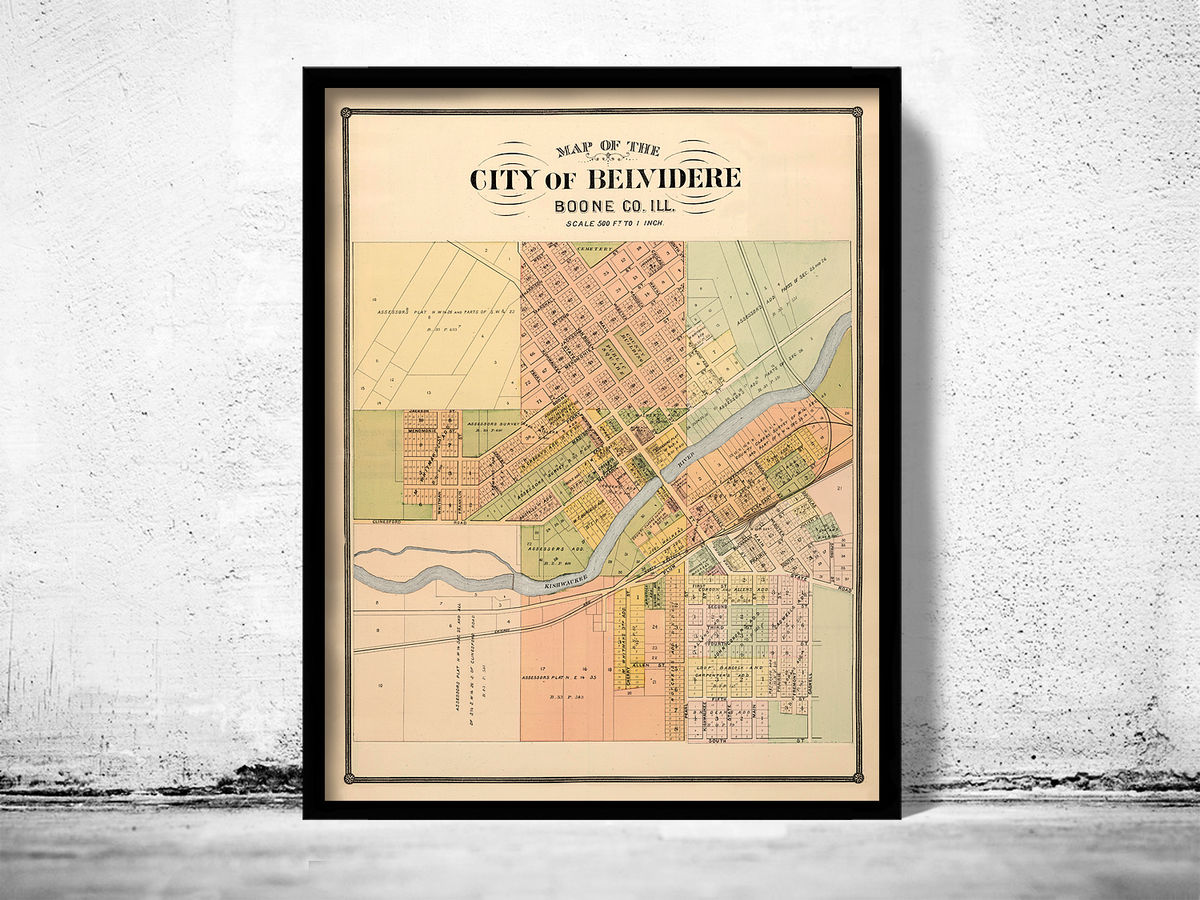 Old map of Belvidere Illinois 1886 United States of America - product images  of