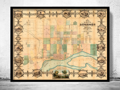 Old,map,of,Davenport,Iowa,United,States,1857,davenport, davenport city, davenport iowa, old map of davenport, davenport map, davenport iowa gift, davenport poster