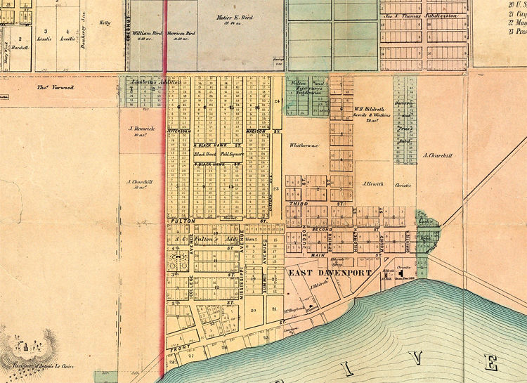 Old map of Davenport Iowa United States 1857 - product image