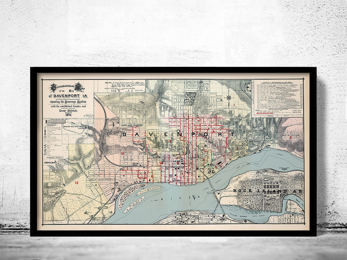 Old map of Davenport Iowa United States 1894 - product images  of