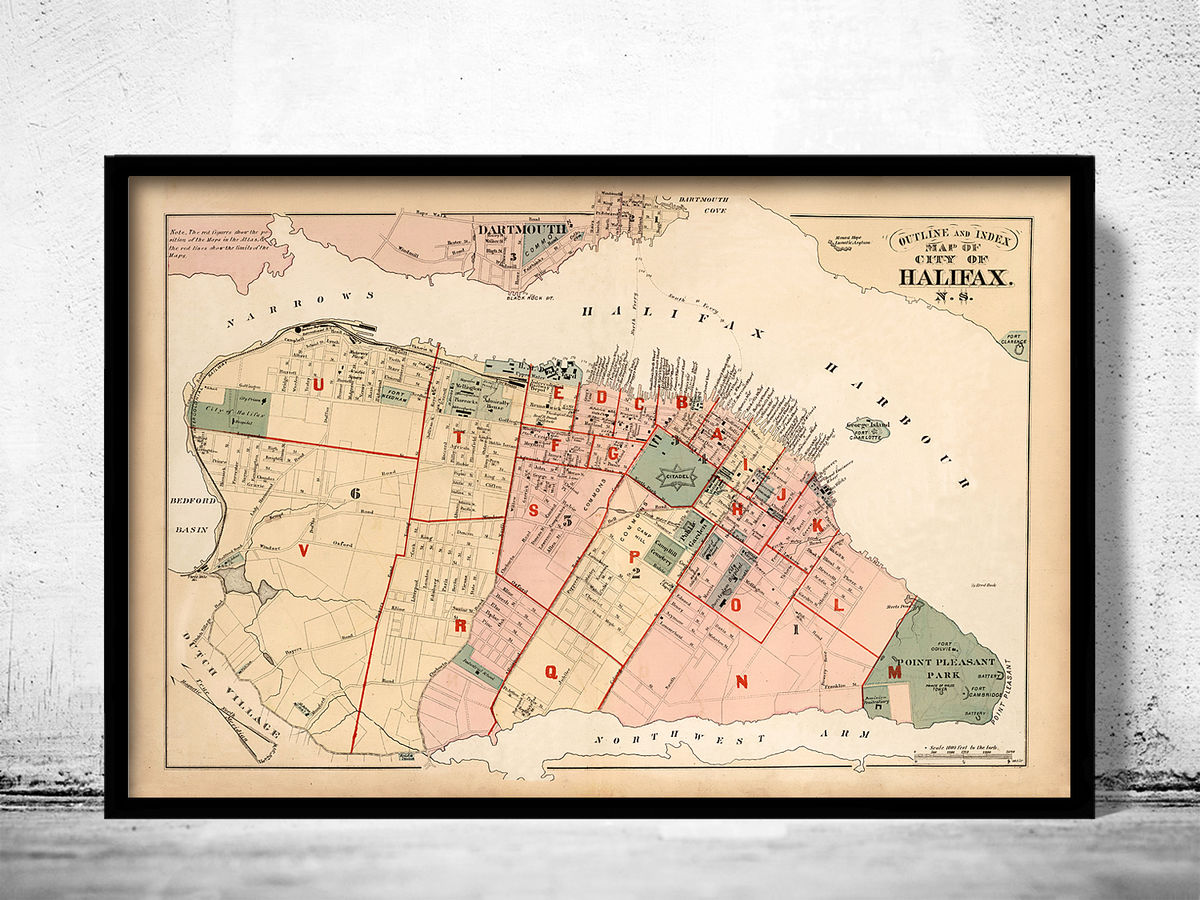 Old Map of Halifax Nova Scotia Canada 1878 (2) - product images  of