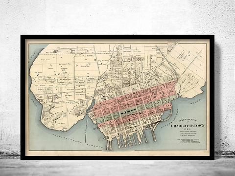 Old,Map,of,Charlottetown,Canada,1880,charlottetown city,map of charlottetown, charlottetown canada,charlottetown old map, charlottetown gift,  charlottetown poster, charlottetown print, map of charlottetown,  charlottetown city plan