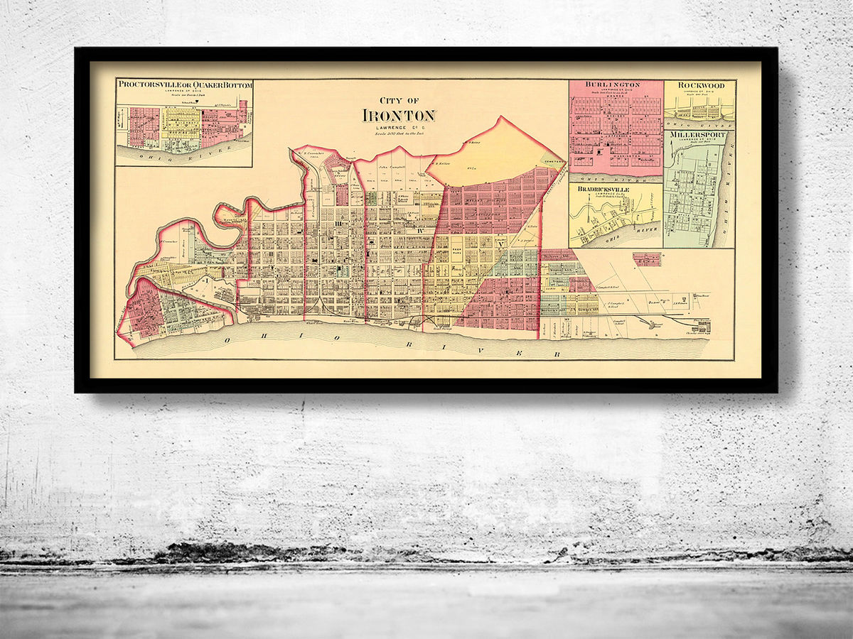 Old map of Ironton Ohio 1877 United States  - product images  of