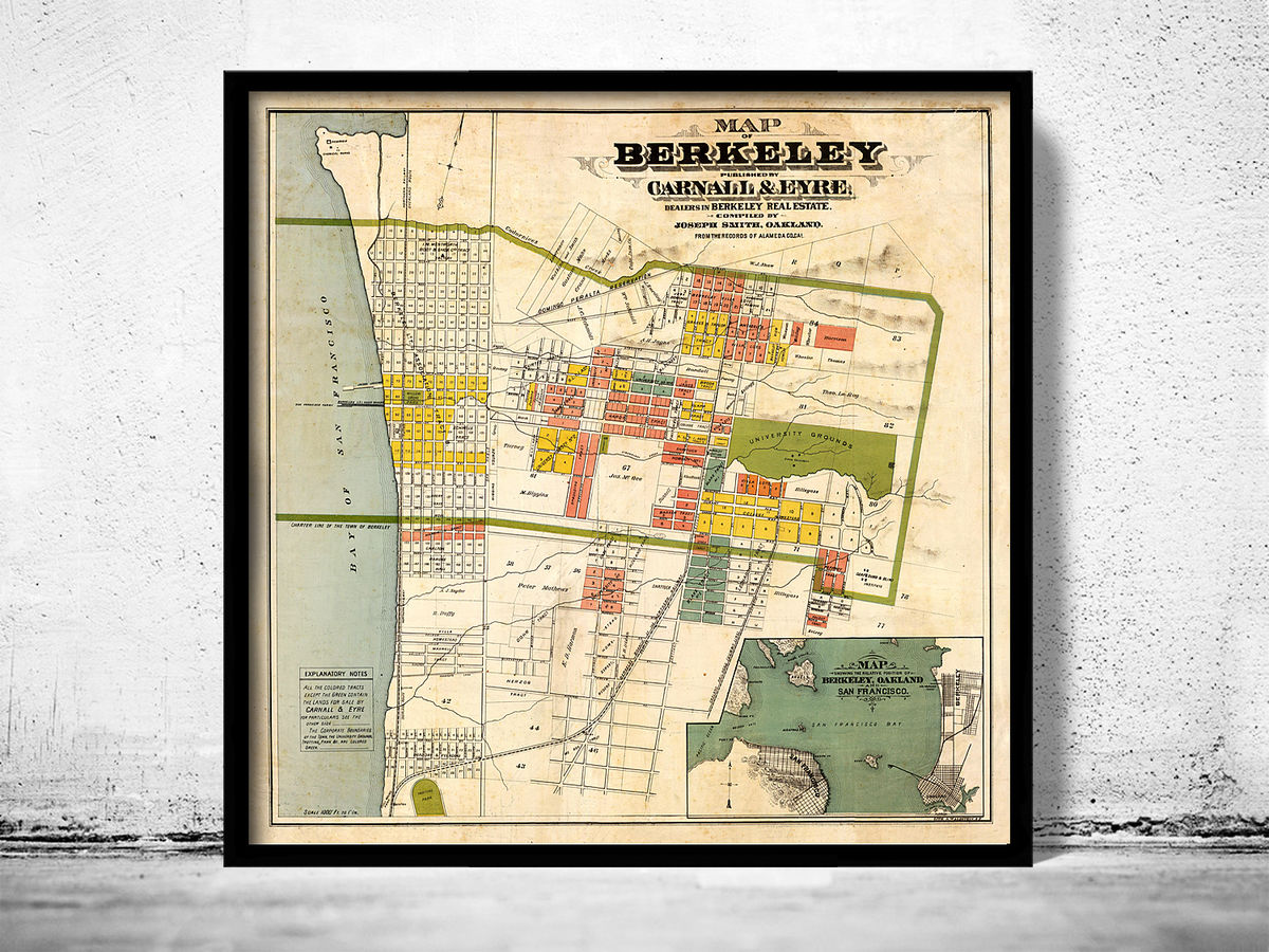 Old map of Berkeley California 1880 - product images  of
