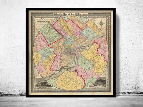 Old,Map,of,Philadelphia,and,environs,1847,Art,Reproduction,Open_Edition,vintage,plan,illustration,philadelphia,United_States,USA,city_map,city_plan,1777,old_map,vintage_poster