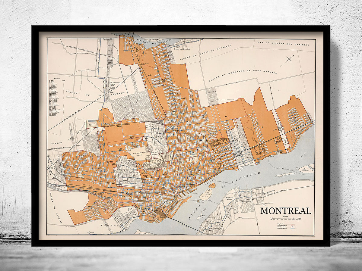 Old Map of Montreal Canada 1915 - product images  of