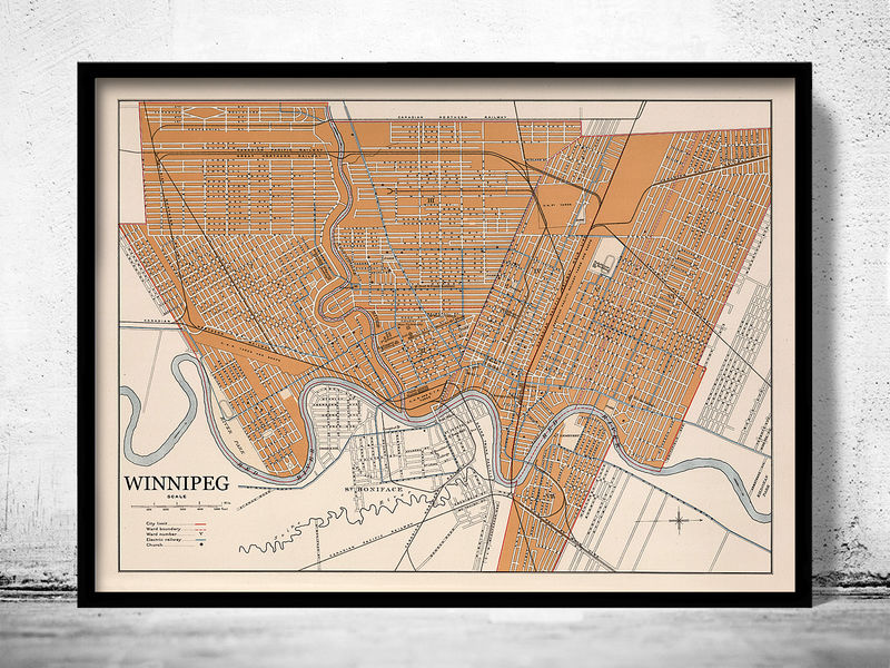 Old Map of Winnipeg Canada 1915 - product image