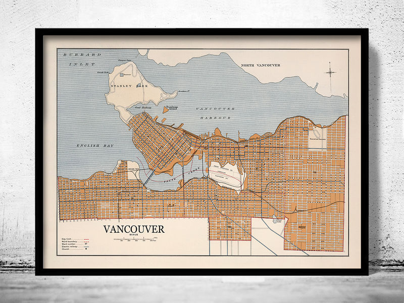 Old Map of Vancouver Canada 1915  - product image