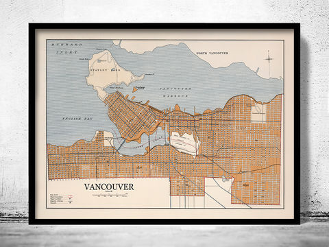Old,Map,of,Vancouver,Canada,1915,vancouver canada, vancouver city, map of vancouver, vancouver map, old map of vancouver, vancouver poster, vancouver gift, vancouver print, vancouver guide