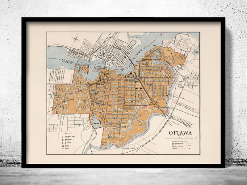 Old Map of Quebec City Canada 1915  - product image