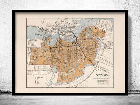 Old,Map,of,Ottawa,Canada,1915,Ottawa canada, Ottawa city, map of Ottawa, Ottawa map, old map of Ottawa, Ottawa poster, Ottawa gift, Ottawa print, Ottawa guide