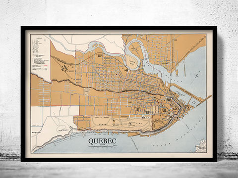 Old,Map,of,Quebec,City,Canada,1915,quebec canada, quebec city, map of quebec, quebec city map, old map of quebec, quebec poster, quebec gift, quebec print, quebec guide