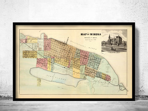 Old,map,of,Winona,Minnesota,1874,winona map, winona minnesota, old map of winona, winona poster, winona print, winona gift, winona city, winona city map, old maps, world maps