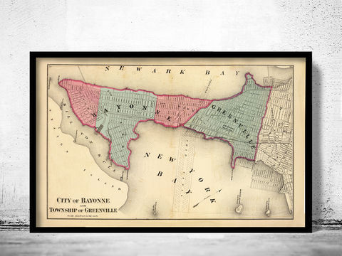 Old,Map,of,Bayonne,New,Jersey,1872,bayonne jersey, bayonne new jersey, bayonne jersey map, greenville jersey map, old map of bayonne, bayonne city, bayonne greenville, old maps, antique maps , bayonne poster