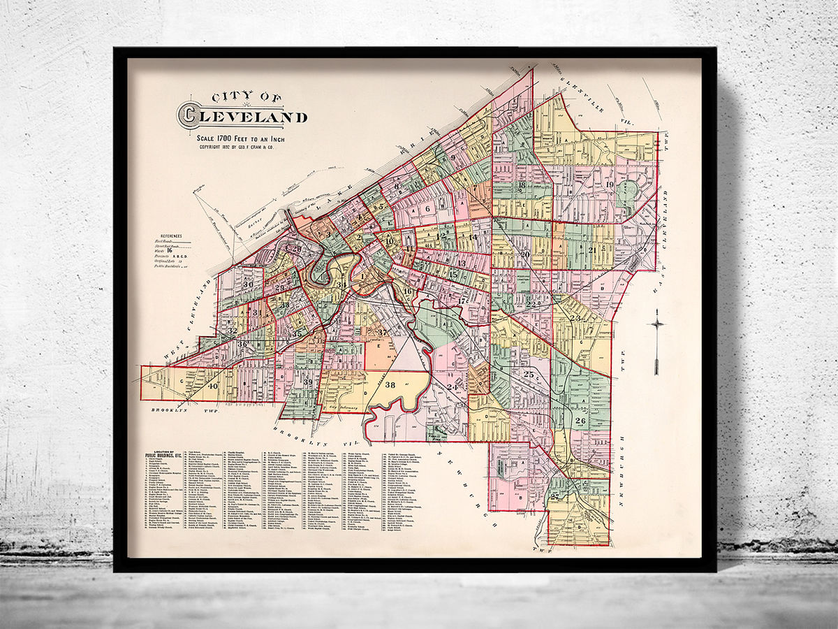Old Map of Cleveland 1892 - product images  of