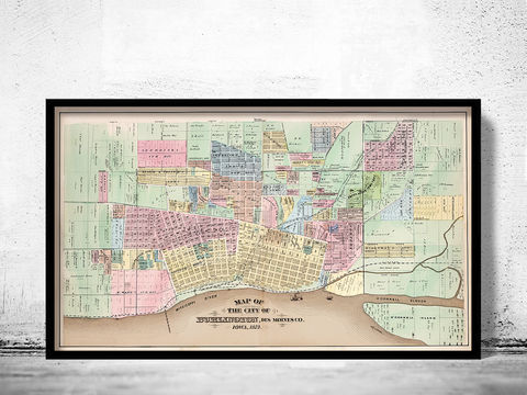Old,map,of,Burlington,Iowa,United,States,1873, Burlingtoncity, Burlington iowa, old map of Burlington, Burlington map, Burlington iowa gift,  Burlington poster