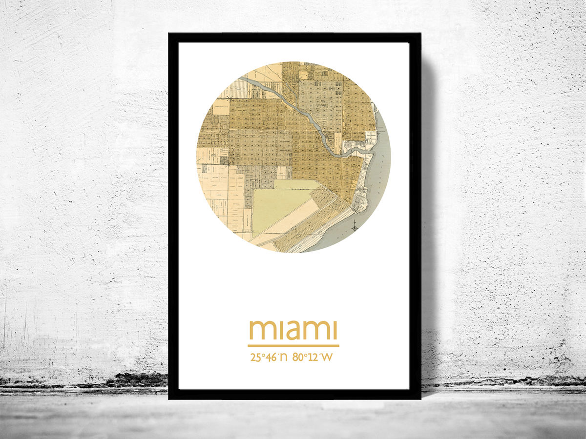 MIAMI FLORIDA - city poster - city map poster print - product images  of