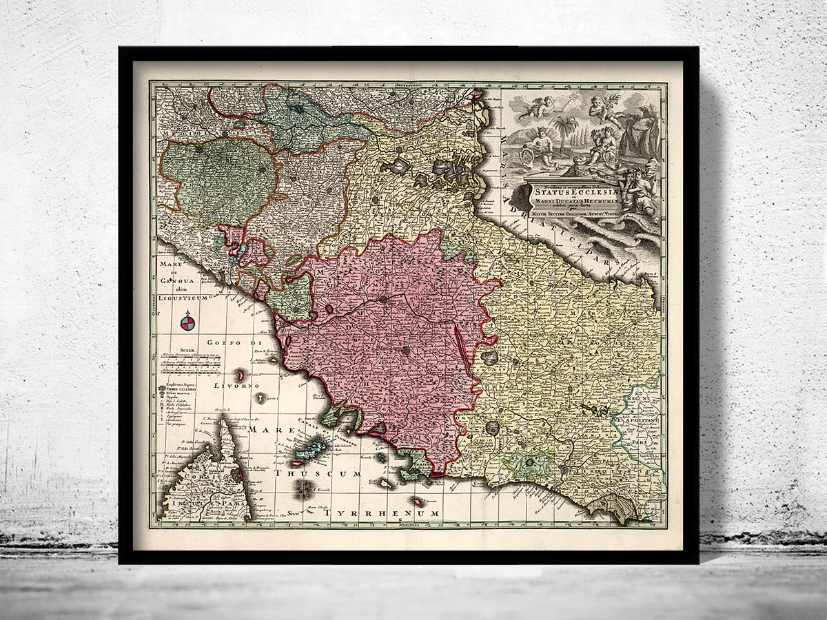 Old Map of Tuscany Toscana Italy 1729 - product images  of
