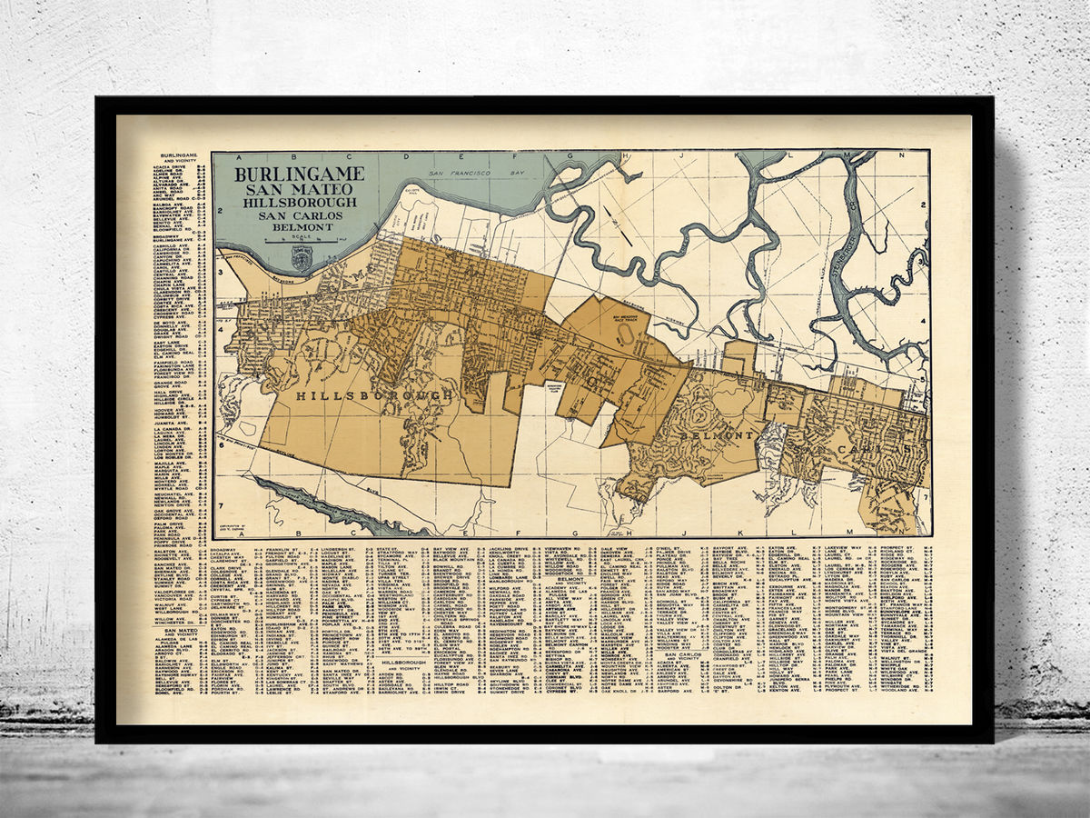 Old Map of Burlingame San Mateo California 1920 - product images  of