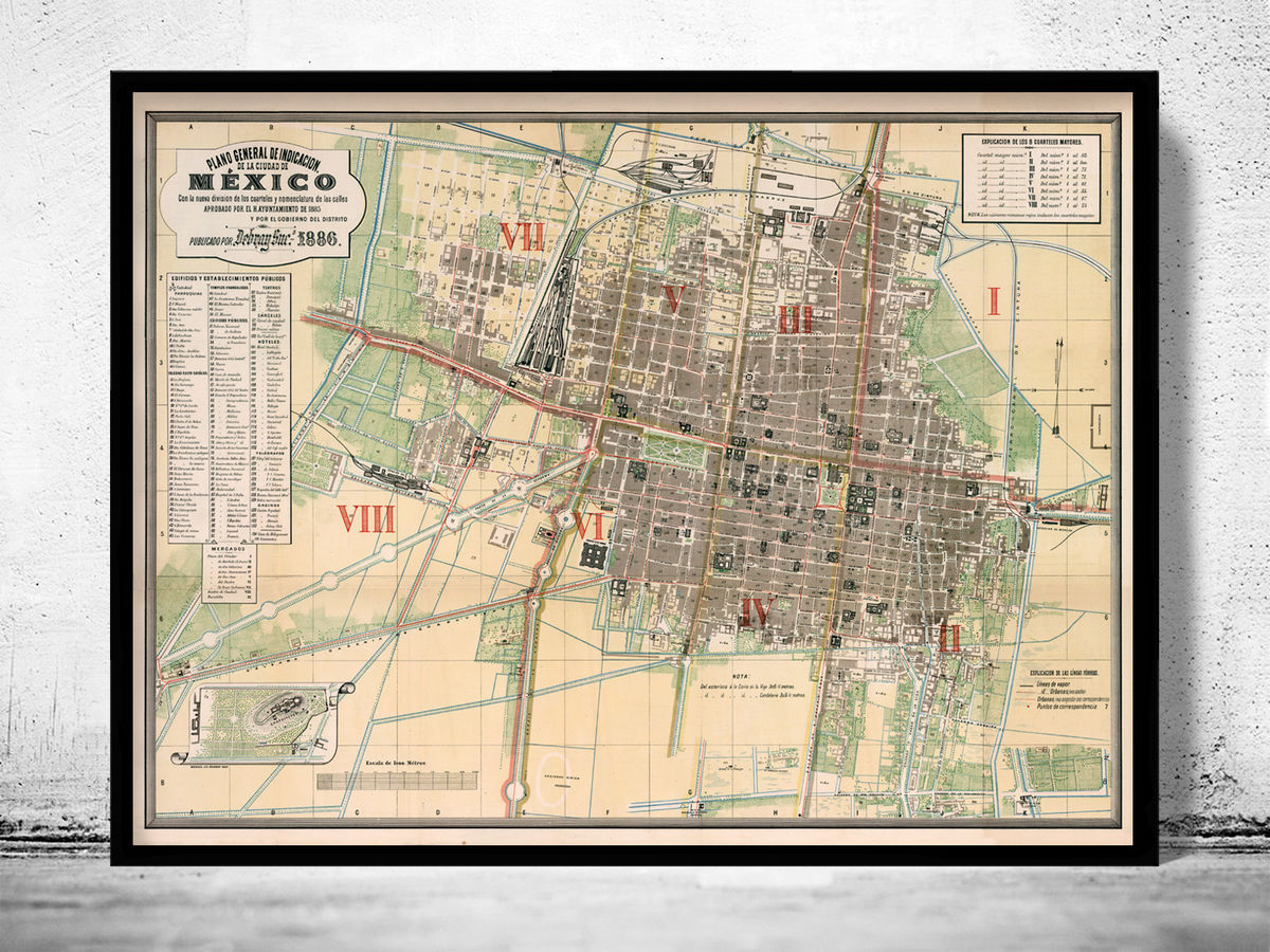 Old Map of Mexico City 1886 - product images  of
