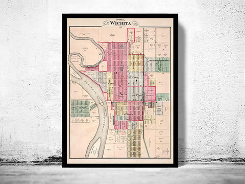 Vintage,map,of,Wichita,Kansas,1882,antique maps to buy, Art,Reproduction,Open_Edition,United_States,panoramic_view,birdseye,vintage_map,old_map,wichita_poster,kansas,wichita city kansas,wichita_city_view,wichita_map,wichita cityi,vintage_wichita, wichita city, map of wichita