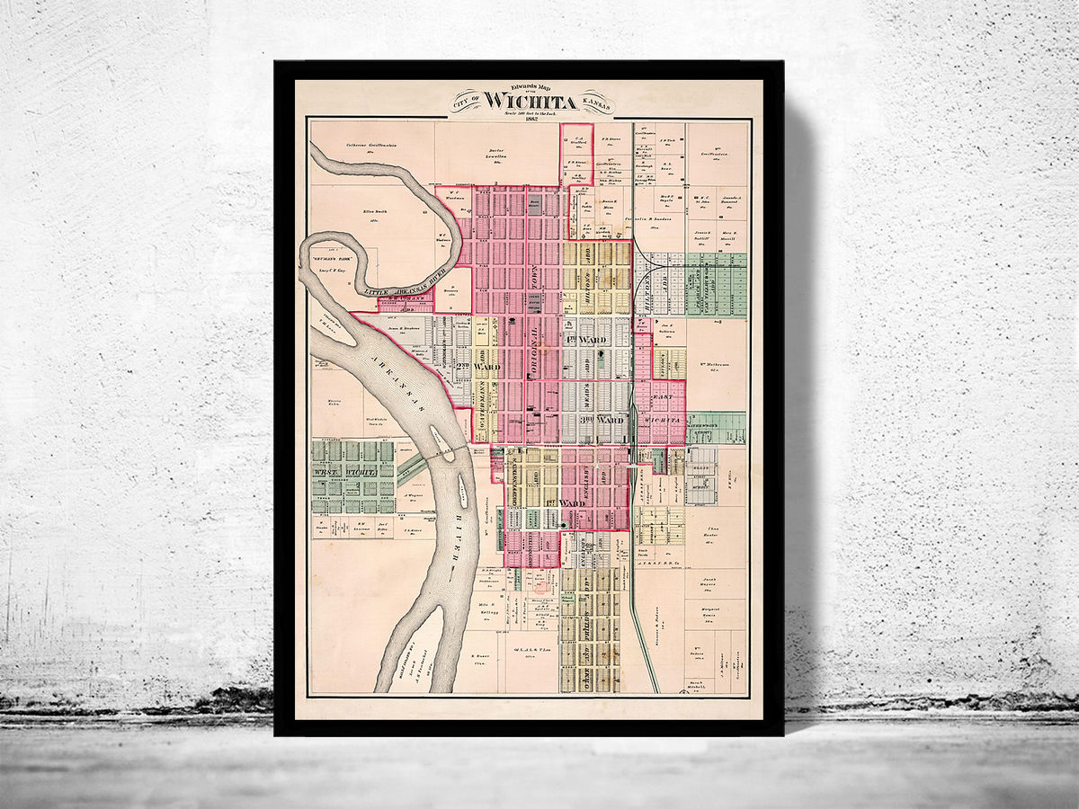 Old map of Wichita Kansas 1882 - product images  of