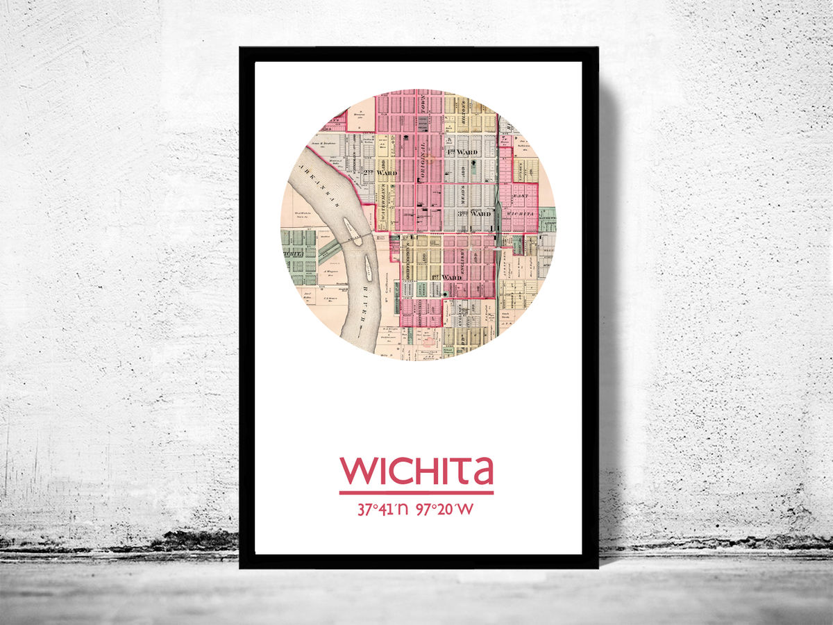 WICHITA KANSAS - city poster - city map poster print - product images  of
