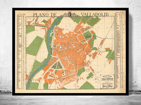 Old,Map,of,Valladolid,City,1906,Spain,valladolid, valladolid spain, valladolid map, mapa valladolid, valladolid print, valladolid poster, valladolid gift