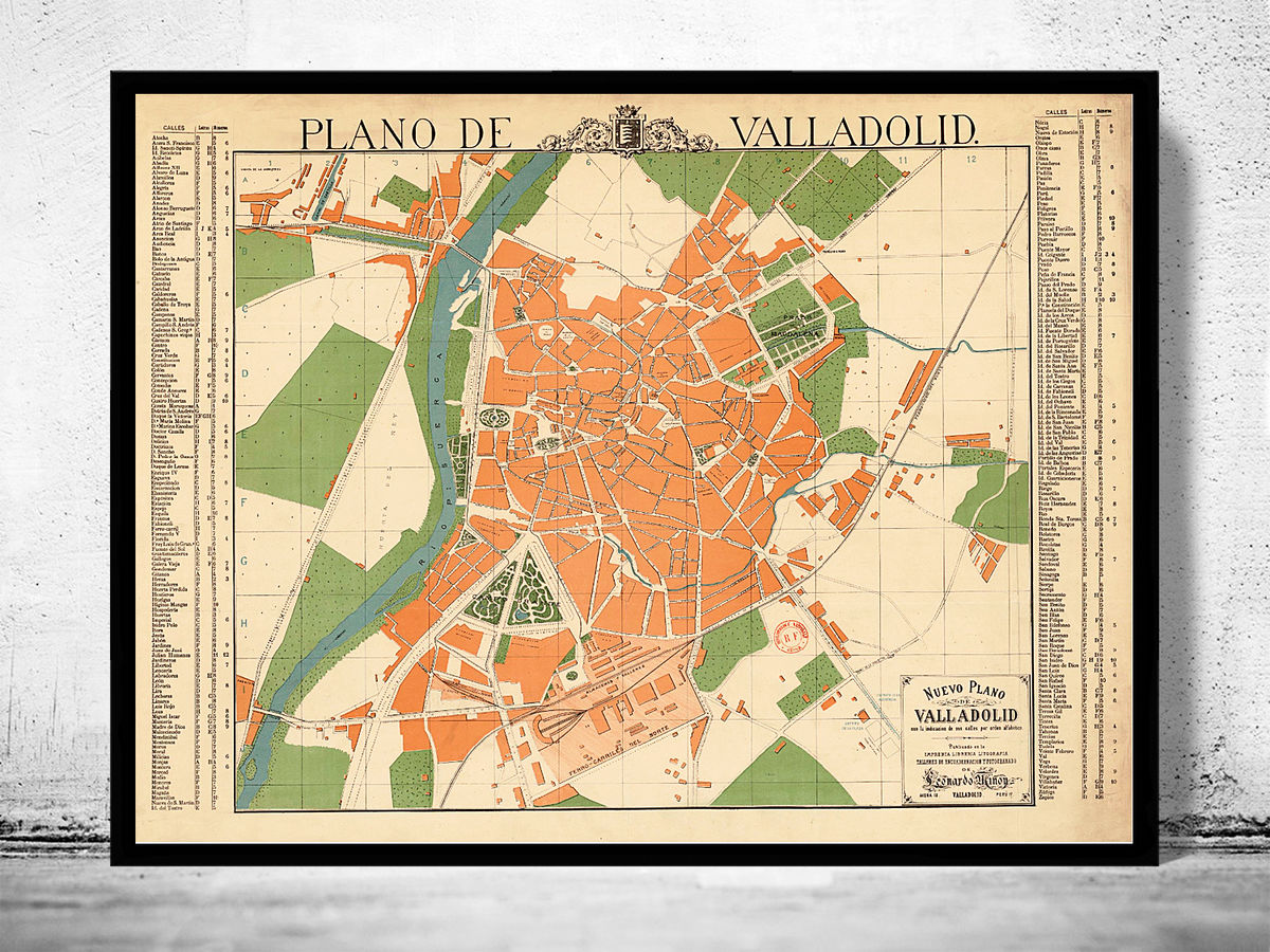 Old Map of Valladolid City 1906 Spain - product images  of
