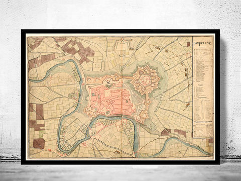 Old,Map,of,Pamplona,City,1823,Spain,pamplona, pamplona spain, pamplona espana, mapa de pamplona, pamplona poster, pamplona map, pamplona gift