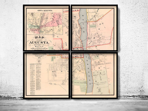 Old,Map,of,Augusta,City,Maine,Plan,1875,(FOUR,PLATES),augusta city, augusta city maine, map of augusta city, augusta city print, augusta city me, maine map, augusta city gift
