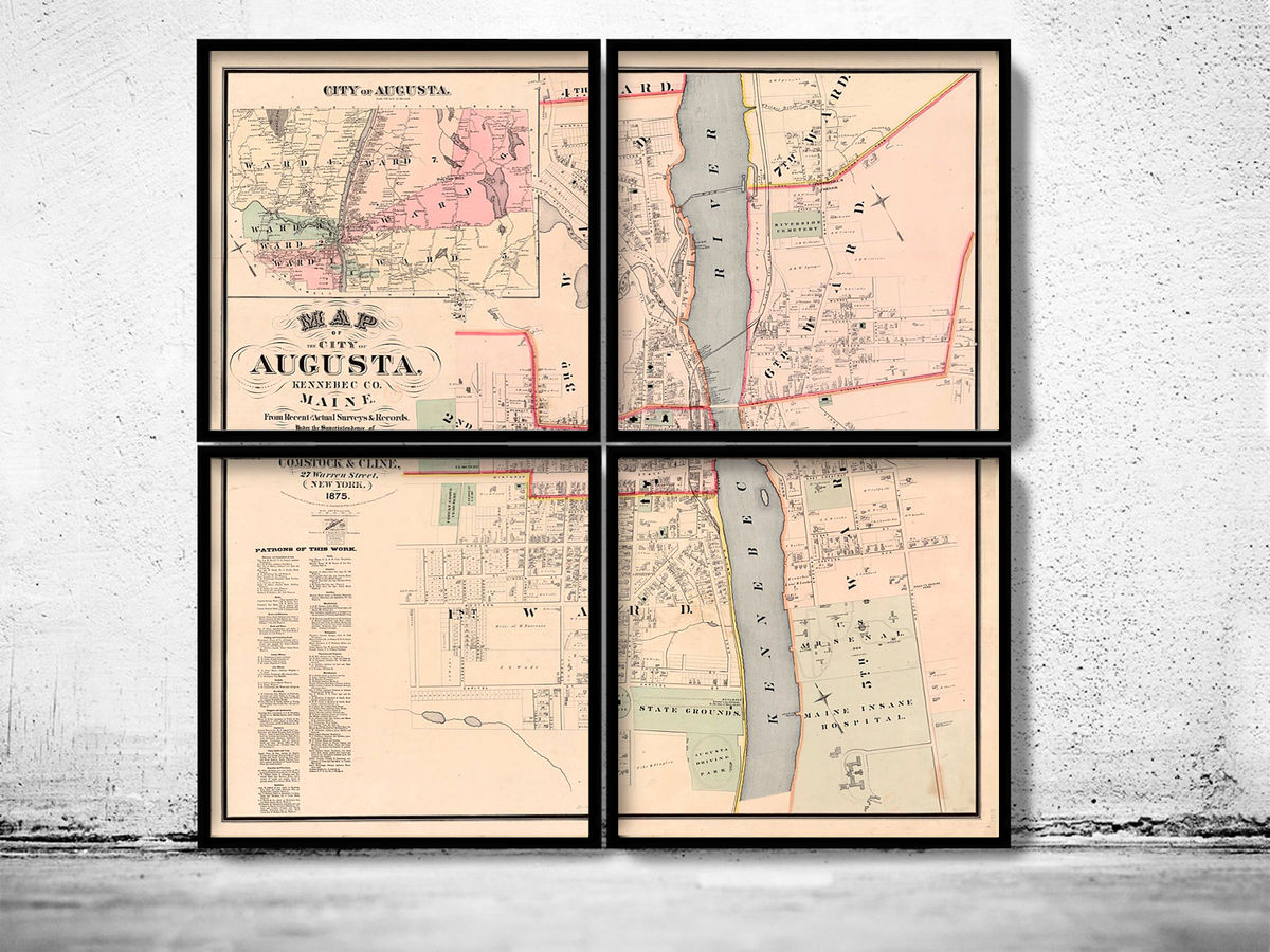 Old Map of Augusta City Maine Plan 1875 (FOUR PLATES)  - product images  of