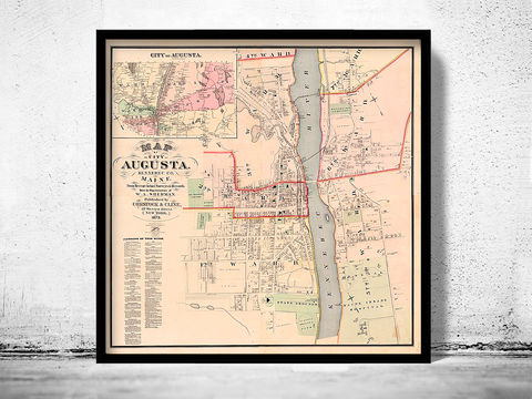 Old,Map,of,Augusta,City,Maine,Plan,1875,United,States,America,augusta city, augusta city maine, map of augusta city, augusta city print, augusta city me, maine map, augusta city gift