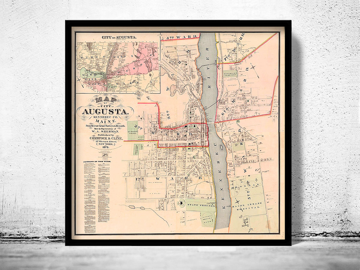 Old Map of Augusta City Maine Plan 1875 United States of America - product images  of