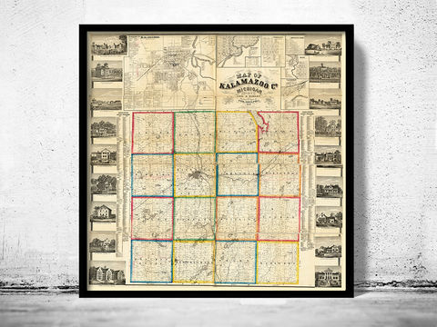 Old,Map,of,Kalamazoo,Michigan,1861,United,States,America,map of kalamazoo, kalamazoo map, kalamazoo print, old map of kalamazoo, kalamazoo michigan, kalamazoo poster